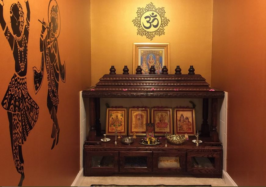 15 pooja room designs in hall pooja room and rangoli designs for Pooja room interior designs